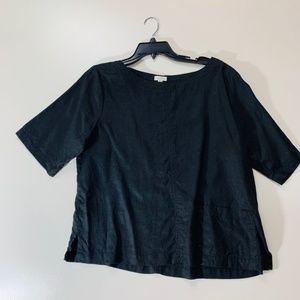 Garnet Hill 100% Linen Black Pockets Short Large